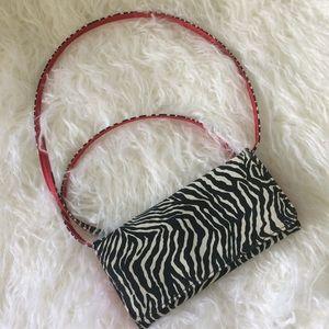🦓 Vintage zebra print wallet bag with check case